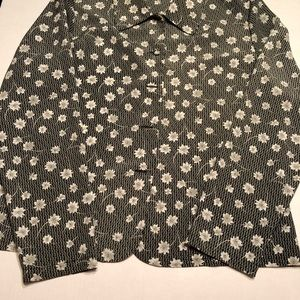 Christie & Jill button front floral career top 12